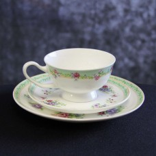Harrisons Hiremaster Wanganui Catering Hire Green Floral Cup, Saucer and Plate