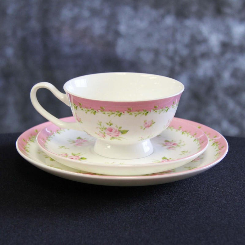 Harrisons Hiremaster Wanganui Catering Hire Pink Floral Cup, Saucer and Plate