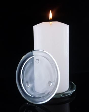 Candle Plate Round Glass